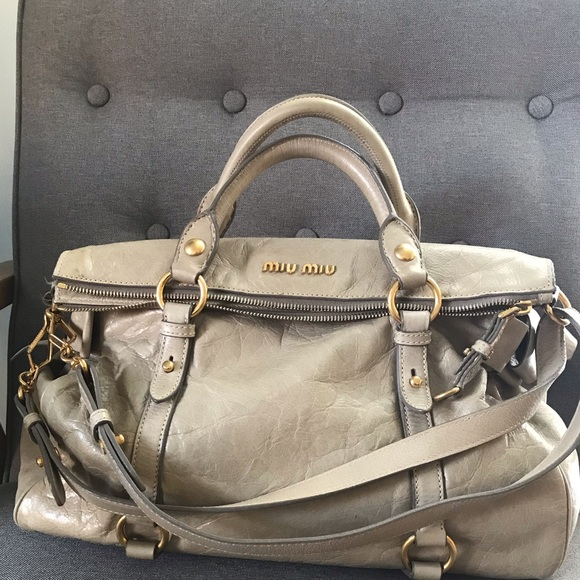 Miu Miu Handbags - Miu Miu Vitello Lux Bow Satchel  Leather Bag